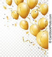 Celebration background with gold confetti and balloons