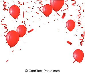 celebration background with red balloon and confetti
