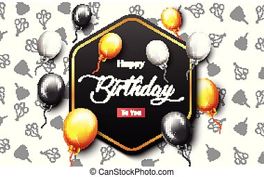 Celebration Happy Birthday Party Banner With Golden Balloons