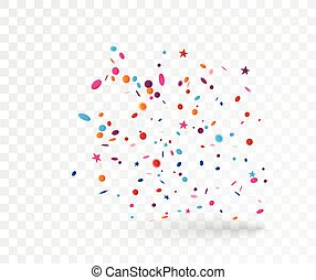 Celebration with Colorful confetti, isolated on transparent background