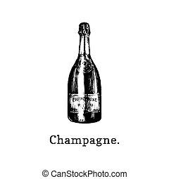 Vector illustration of champagne bottle. Hand drawn sketch of alcoholic beverage for cafe, bar label,restaurant menu.
