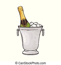 Vector illustration of champagne bottle in ice bucket in sketch style.