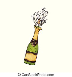 Vector illustration of champagne bottle with popping cork and explosion of golden alcohol fizzy drink.