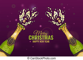 Vector illustration of champagne bottles with popping corks and explosion of fizzy drink in sketch style.