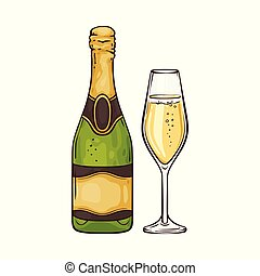 Vector illustration of champagne in close bottle and wineglass in sketch style.