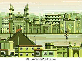 Charminar in Hyderabad cityscape
