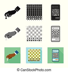 Vector illustration of checkmate and thin icon. Collection...