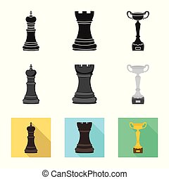 Vector illustration of checkmate and thin icon. Set of...