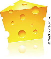 Cheddar Cheese with Reflection - Vector Illustration of...