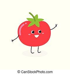 Vector illustration of cheerful cartoon tomato isolated on white background
