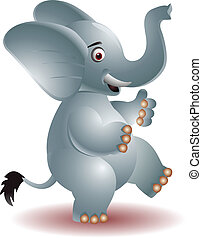 Cheerful elephant raising his hands - vector illustration of...