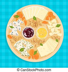 Vector illustration of cheese plate