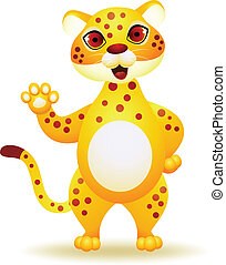 Cheetah cartoon waving hand