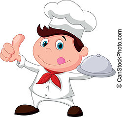 Chef cartoon holding a metal food p