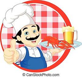 chef cartoon thump up - vector illustration of chef cartoon ...