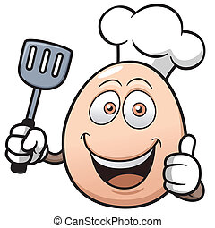 Chef egg - Vector illustration of Chef egg cartoon
