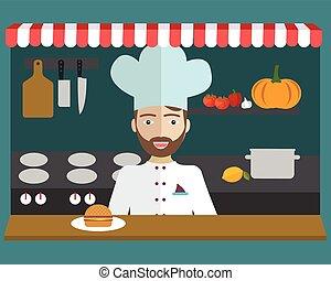 Vector illustration of chef, restaurant menu