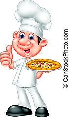 Chef with pizza giving thumbs up