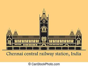 Chennai central station - Vector illustration of Chennai...