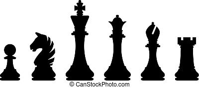 Vector illustration of chess piece set isolated on white