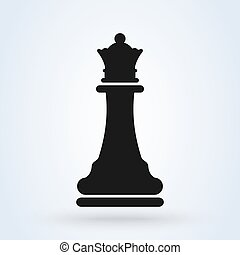 Vector illustration of chess queen icon. Black chess
