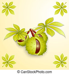 Vector illustration of chestnut branch and green leaves