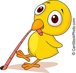 Vector illustration of Chicken with worm cartoon