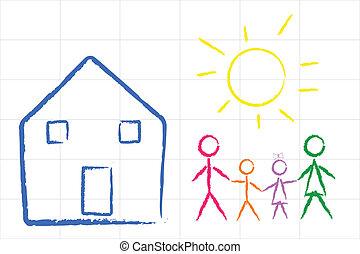 Vector illustration of child family design