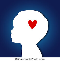 Child head with heart - Vector illustration of Child head...