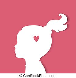 Child head with heart