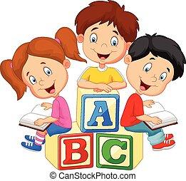 Vector illustration of Children cartoon reading book and sitting on alphabet blocks