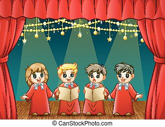 Children choir performing on the stage - Vector illustration...