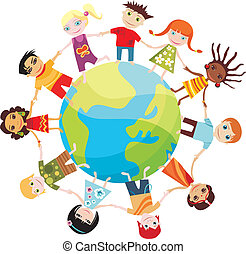 vector illustration of children of the world