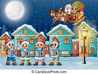 Christmas carols with Santa Claus and elf riding his sleigh at the night