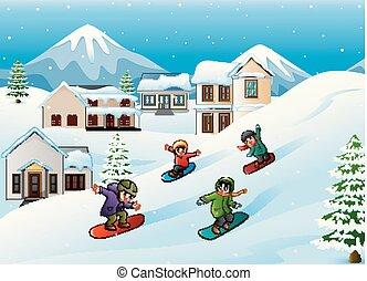 Children snowboarder sliding down hill - Vector illustration...