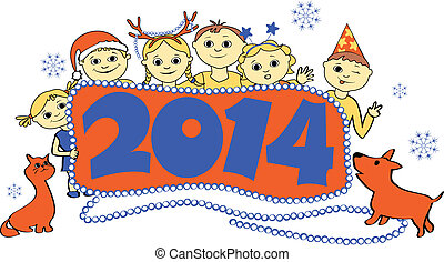 vector illustration of children with a banner 2014