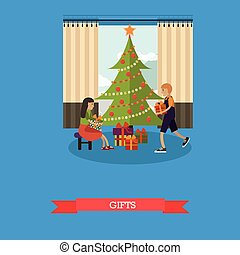 Vector illustration of children with christmas gifts in flat style