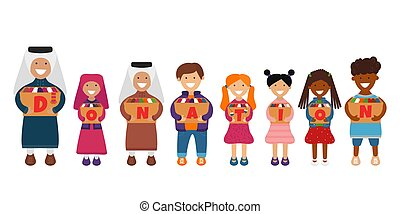 Vector Illustration of Children with Donation Box