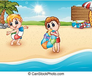 Children with inflatable ring at the beach