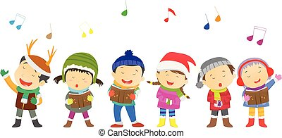 vector illustration of Children's choir with Christmas costumes