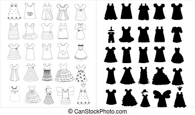 vector illustration of children's dresses
