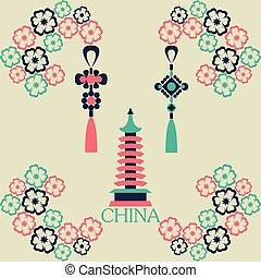 Vector illustration of China symbol color set