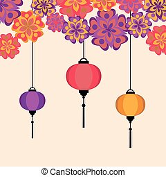Vector illustration of Chineese Lanters decoration colorful...