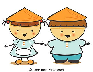 Vector illustration of Chinese children, boy, girl.