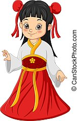 Chinese girl wearing Chinese traditional costume