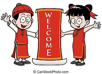 Chinese Kids - Vector Illustration of Chinese Kids with...