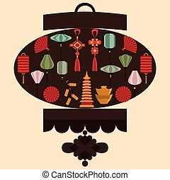 Vector illustration of Chinese lantern silhouette