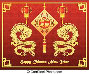 Chinese new year with lantern ornament and golden dragon -...