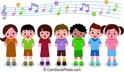 Vector illustration of choir girls and boys singing a song -...