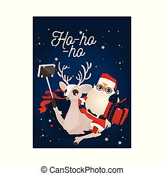 Vector illustration of Christmas and New Year congratulation card with reindeer and Santa Claus making selfie.